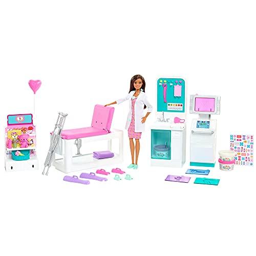 Barbie Métiers coffret Clinique avec poupée docteure brune et plus de 30 accessoires dont 3 pots de pâte à modeler, jouet pour enfant, GTN61