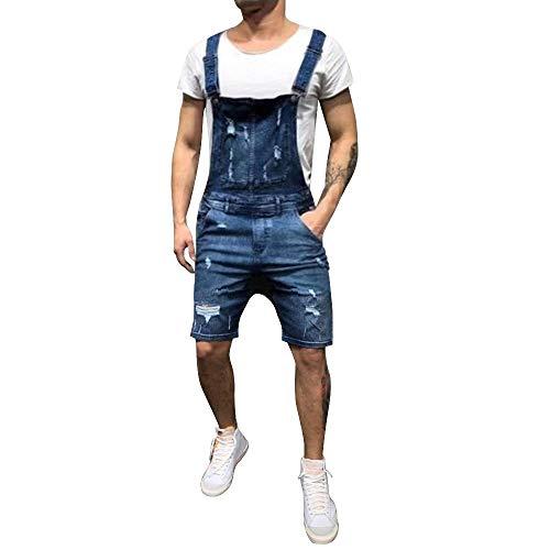 Dihope - Peto para hombre, estilo vintage rasgado, estilo vaquero, estilo casual, con pantalón corto, ajustado Bleu Foncé 2 X-Small (talla de fabricante S)