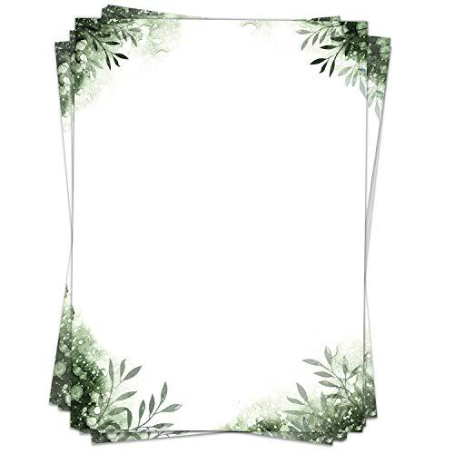 50 Blatt Briefpapier (A4) | Aquarell Blätter Grün | Motivpapier | edles Design Papier | beidseitig bedruckt | Bastelpapier | 90 g/m²