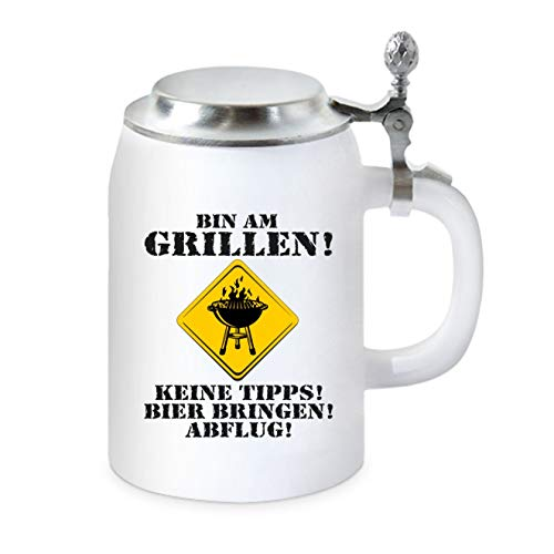 KMC-Austria Design Bierkrug mit Flachdeckel - für Grill Fan - Bin am Grillen, Bier bringen und Abflug