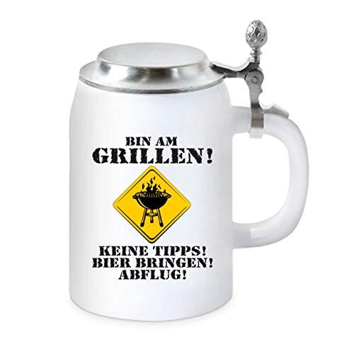 KMC-Austria - Boccale da birra con coperchio piatto, per fan del barbecue, per portare birra e per volare