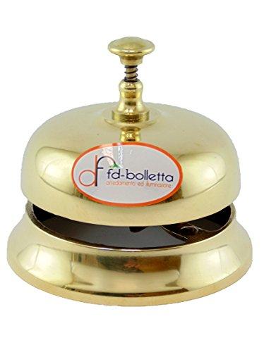 fd-bolletta arredamento e illuminazione Campanello da Hotel Ottone Lucido,Campana da Tavolo,campanella da scrivania,Oggetto in Ottone per mobili ca1 Misure:H 8,5cm,Ø 9,5cm