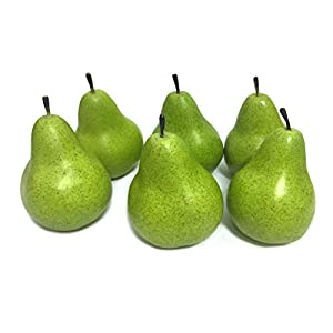 D-Seven 6pcs Fake Pear Artificial Fruit Faux Pears for Home Shop Supermarket Props Or Decoration(Green)