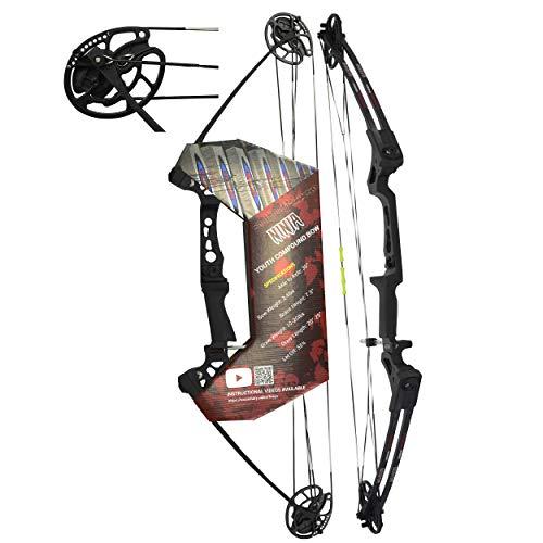 "Southwest Archery Ninja Kids Youth Compound Bow Kit - Fully Adjustable 20-29"" Draw 10-20LB Pull - 55% Let Off - Pre-Installed Arrow Rest - Finger Saver String - RH, Black"