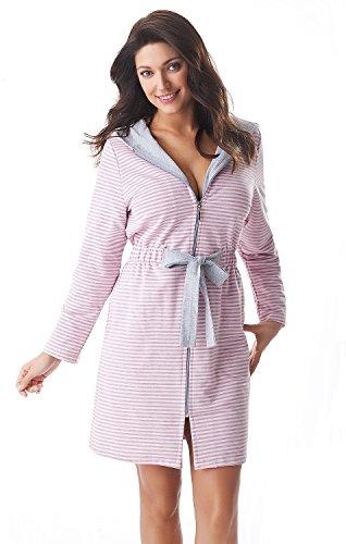 DOROTA kuscheliger und moderner Damen Baumwoll-Bademantel mit Taschen, Reißverschluss & Kapuze, made in EU, Rosa-gestreift, Gr. M (38)