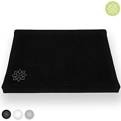 Mindful and Modern Black Zabuton Meditation Cushion - Cotton Meditating Mat for Best Kneeling and Sitting Support - Large Rectangular Floor Pillow for Zafu or Bench
