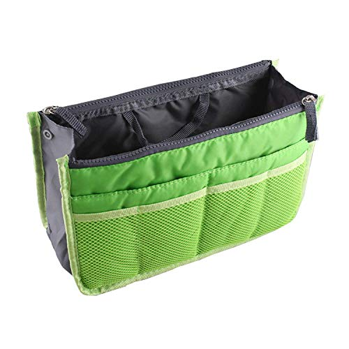 Ducomi Handbag Organizer Expandable with 13 Big Pockets - Purse with Zipper Closure and Handle - Ideal for Documents, Phone, Cosmetic and Keys - Easy Handy Organizer (Standard, Green)
