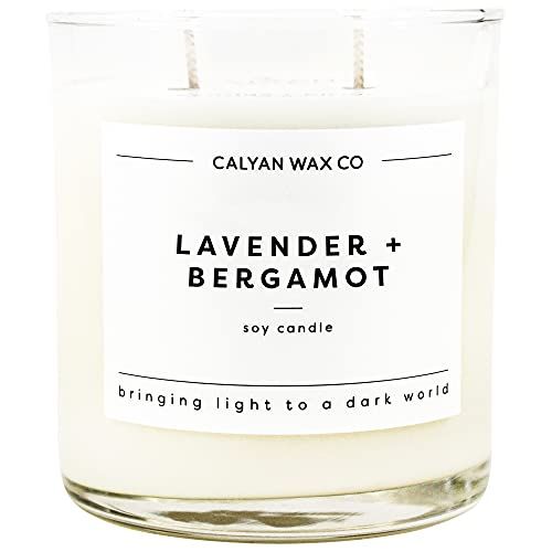 Calyan Wax Co Soy Candle, 100% Soy Wax Candle with Essential Oils & 37 Hour Burn Time, 12.5 Oz Glass Tumbler Aromatherapy Candle, Made in The USA, Lavender and Bergamot