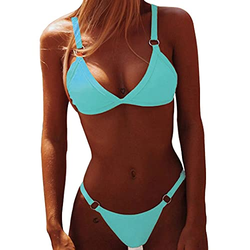 Yuson Girl Damen Zweiteilige Bikini Sets Einfarbig mit Metallknopf, Triangel Bikini Push up Bandeau Bademode Verstellbarer, Sexy Bikini High Waist Badeanzug Drucken Tanga Bikinis Swimsuit für Frauen