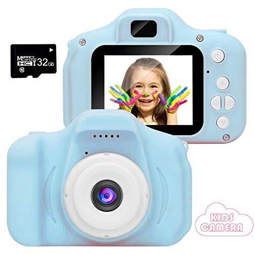 2020 Nueva Cámara para Niños, Cámara de Fotos/Video HD 1080p Cámara Digital para Piños, Pantalla LCD de 2 Pulgadas/Tarjeta 32G (Blue-2)