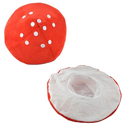 NUOBESTY Sombrero de seta roja linda Lolita Kawaii Plant Cosplay Caps Vintage Pintor Sombrero Decoración para niños o adultos (blanco y rojo)