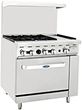 Atosa ATO-4B12G 36'' Gas Range. (4) Open Burners and 12'' Griddle on the RIGHT with One 26'' 1/2 Wide Oven
