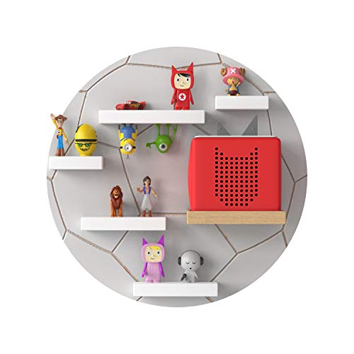 RR Rellgo Real Goods Tonie Box Holzregal mit magnetischer Beschichtung - Wandregal Kinderzimmer - im Fußball Design in grau