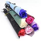 Cacowap 5 Piezas De Flores Artificiales De Rosas, Ramo De Flores Artificiales De Rosas De Jabón, Utilizado para Regalo De Novia, Regalo De San Valentín, Juego De Flores De Cumpleaños
