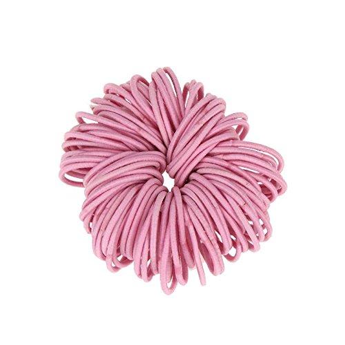Coobbar 100pcs Women Elastic Hair Ties Band Ropes Ring Ponytail Holder (Pink)