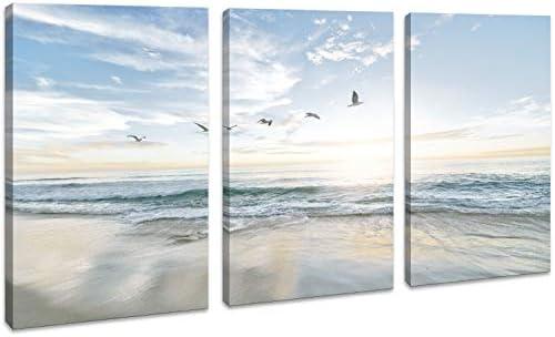 Canvas Wall Art for Bathroom Seascape Beach with Sea Birds Giclee Print Gallery Wrap Modern product image