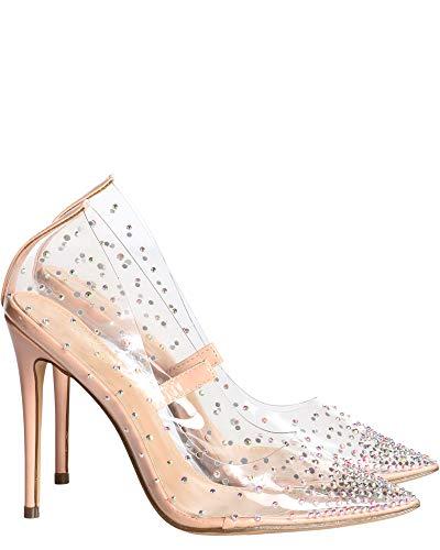Liliana Womens Rhinestone Transparent Pump Heel,Nude,8.5