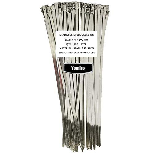 Yomiro 100 bridas de acero inoxidable, 300 mm, para gestión de cables, resistente a los rayos UV, organizador de cables, cinta de protección contra el calor, cinta de escape, bridas de metal