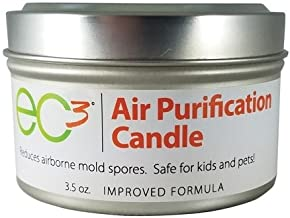 EC3 Air Purification Candle, Reduce Mold Counts and Mycotoxin Levels in Indoor Air, All Natural, Fragrance Free, Botanical Ingredients in Soy Wax