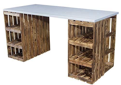 Schreibtisch mit geflammten Holzkisten & weißer Holzplatte 150x70x75cm - Weinkisten Obstkisten Apfelkisten Holz Kiste Retro Vintage Geflammt Flambiert