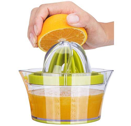 iheyfill Zitronenpresse 4 in 1 Orangenpresse Zitruspresse mit Behälter 400ml, Manuelle Saftpresse Limettenpresse Fruchtpresse,Saftpresse Limette Zitrusfrucht Handpresse