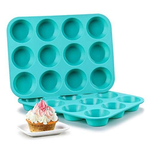 HOODIE Silikon Cupcake Backformen, Silikon Muffinform Tablett für 12 Muffins/Cupcakes/Pudding/Brownies, Antihaftbeschichtung, Pinch Test genehmigt