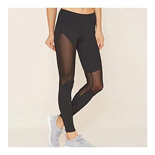 Mujeres Malla Negra Transparente cómodos Leggings Pantalón de Entrenamiento Sexy Slim Fit Leggins de Estribo for Las Mujeres Activewear (Color : P1297 Black, Size : S)