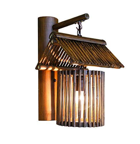 HSWYJJPFB Apliques de Interior Lampara Pared Dormitorio Lámpara de Pared Granja Rural Bar Salón de té Lámpara de bambú Pasillo Retro de bambú