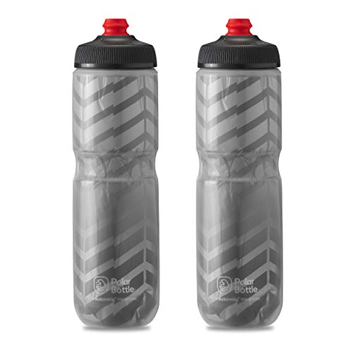 Polar Bottle Breakaway Insulated Bike Water Bottle - BPA Free, Cycling & Sports Squeeze Bottle 2-Pack (Bolt - Charcoal & Silver, 24 oz)