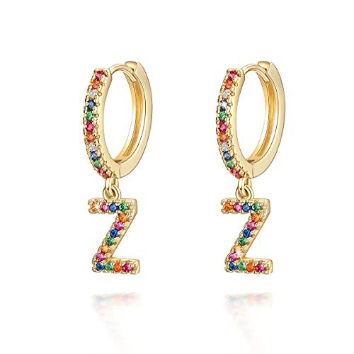 Pendientes de aro con letra Z para niñas, mujeres, niños, oro de 14 quilates, arco iris, circonitas cúbicas