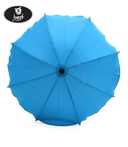 Best For Kids Universal Kinderwagenschirm NEUSTE TECHNIK Höchster UV Schutz Standard 801 - Sonnenschirm und Regenschirm für Kinderwagen, biegsam und einklappbar, 15 Farben zur Auswahl (Blau)