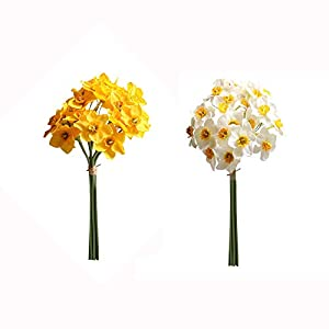 2Pcs Artificial Daffodils Flowers Silk Daffodils Flower Bouquet DIY Daffodils Bunch for Wedding Home Office Party Decoration(Yellow White)