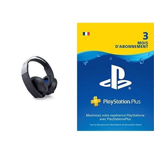 PS4 - Casque sans Fil Platinum + PlayStation Plus: abonnement de 3mois   Code Jeu PSN - Compte français