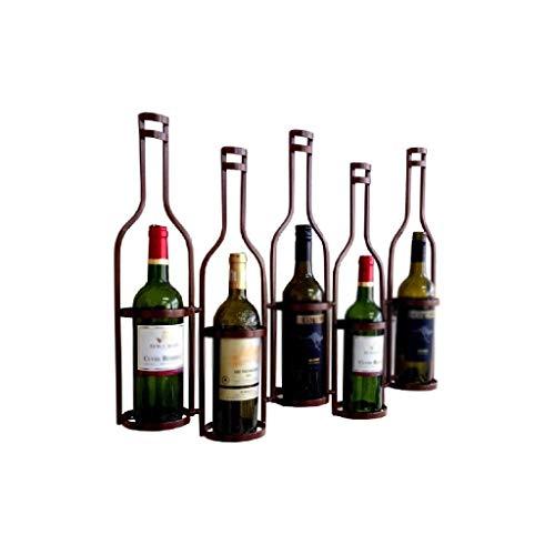 NXYJD Iron & Wine Rack seccional Estante del Vino montado en la Pared o Debajo del gabinete, Botella de Almacenamiento Organizador de Metal (Color : Brown)