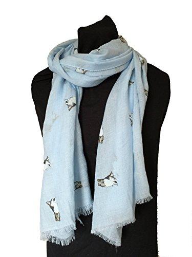 Pamper Yourself Now Blau Collie Hund, langer Schal mit ausgefransten Rand - Blue Collie dog, long Scarf with frayed edge