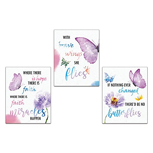 """Modern Abstract Inspirational Quotes Watercolor Butterfly Wall Art Prints Set of 3 ("""" 8x10""""Canvas Picture) Kids Girls Kindergarten Classroom Decor Art Painting Home Decor Unframed"""