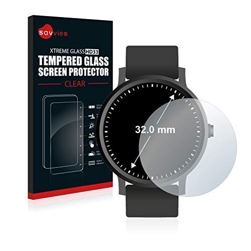 Preisvergleich Produktbild Savvies Panzerglas kompatibel mit Armbanduhren (Kreisrund,  Durchmesser: 32 mm) - Echt-Glas,  9H Härte,  Anti-Fingerprint