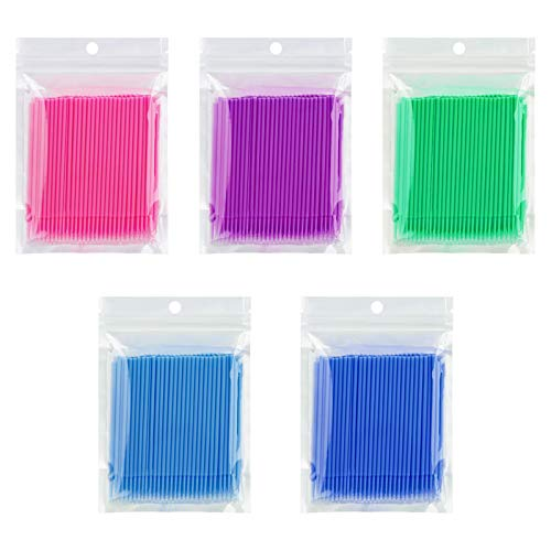 Cuttte 500 PCS Disposable Micro Applicators Brushes Latisse Applicator for Eyelashes Extensions and Makeup Application (Head Diameter: 1.5/2.0/2.5 mm)