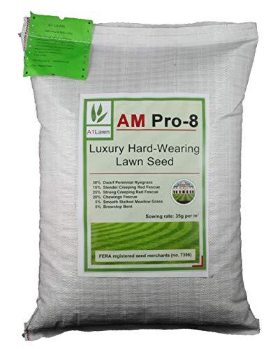 A1 Lawn, AM Pro-8 Luxury Hard Wearing Lawn Growing Grass Seed, 10kg
