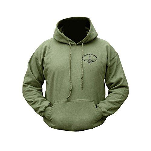 Zip Zap Zooom Sweat-Shirt à Capuche pour Homme Style Militaire Armée US Motif Ailes Parachute Régiment en Polaire - Vert - XL