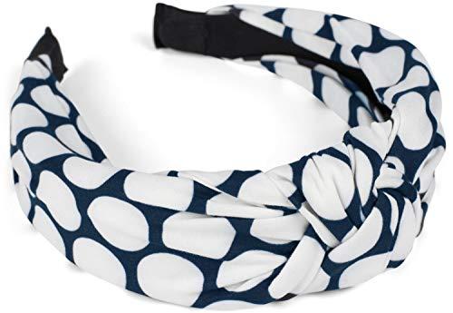 styleBREAKER Damen Haarreif mit Polka Dots Punkte Muster und Knoten, Retro Style Rockabilly Vintage Look, Haarband 04027023, Farbe:Dunkelblau-Weiß
