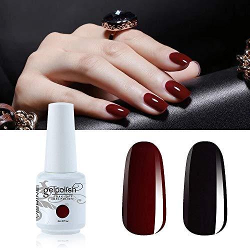 Vishine 2 Colors Nail Gel Polish Set Black Dark Red Wine Color Soak Off UV...
