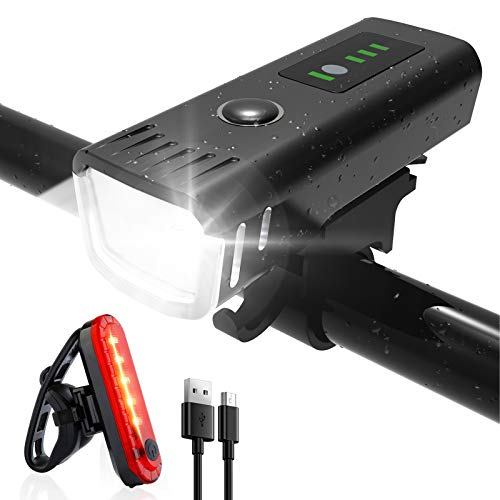 Luz Bicicleta Potente Delantera y Trasera LED Set, Ajuste Automático de Brillo Luz Bici de Carretera y Montaña, Impermeable Recargable USB Luces Bicicleta Duración con 4 modos y Indicador de Batería
