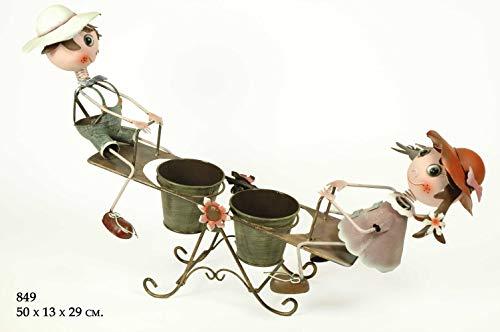 CAPRILO Macetero Doble Decorativo de Metal Niños en Balancín. Adornos y Figuras. Decoración para Jardín. Regalos Originales. 50 x 13 x 29 cm. IB 2