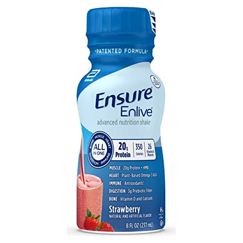 Ensure Enlive Meal Replacement Shake, 20g Protein, 350 Calories, Advanced Nutrition Protein Shake, Strawberry, 8 fl oz, 16 Bottles