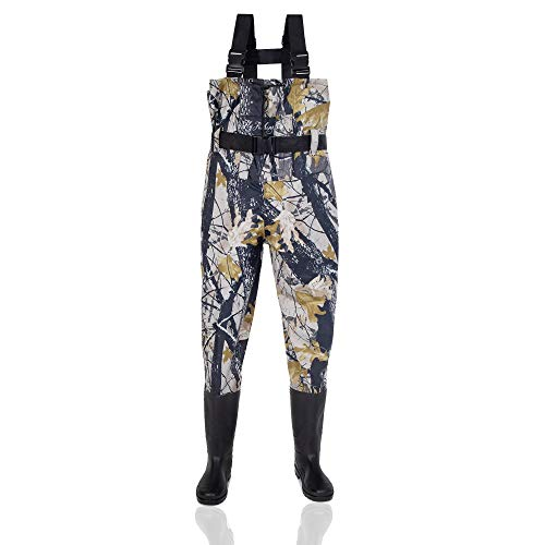 FLY FISHING HERO Fishing Waders for Men Hunting Waders for Women Breathable Waders Fishing Camo Fishing Boots Wader Pants (Camo-Maple, 10)