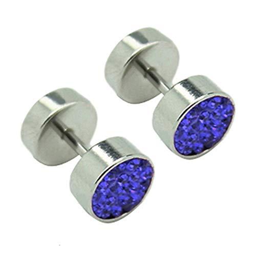 SONGAI Unisex Rhinestones Stainless Steel Barbell Ear Studs Earrings Jewelry,Style Name:Dark Blue Bracelets Earrings Rings Necklaces