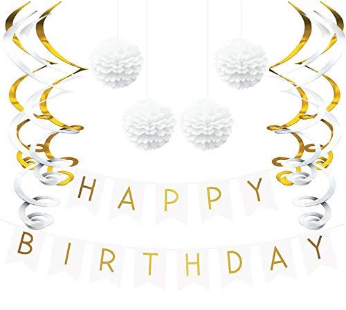 Sterling James Co. - Deko Geburtstag Set, Weiße und Gold Girlande, Pom Poms und Spiralgirlande Silber – Party Zubehör 18. 30. 40. 50.