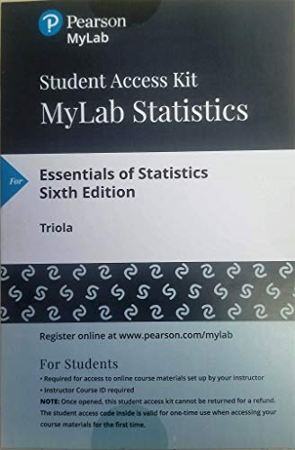 MyLab Statistics with Pearson eText -- 24 Month Standalone Access Card -- for Essentials of Statistics (6th Edition)