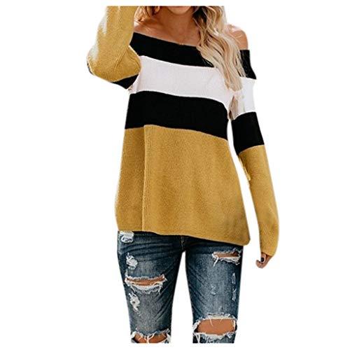 Suéter con Hombros Descubiertos para Mujer Blusa de Estilo Simple de Manga Larga Jersey de Punto Tops Outwear cálida cómoda Informal de Fiesta otoño e Invierno(Amarillo,XL)